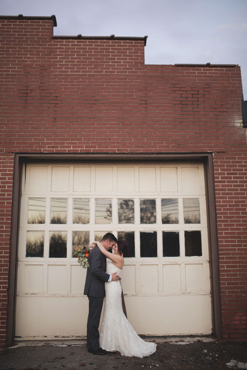 Bride and Groom Portrait at Industrial Venue