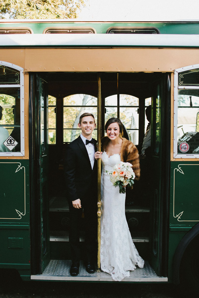 Bride and Groom on Green Trolley Bus