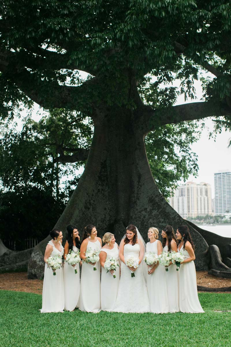 Bridesmaids & Bride in White Gowns