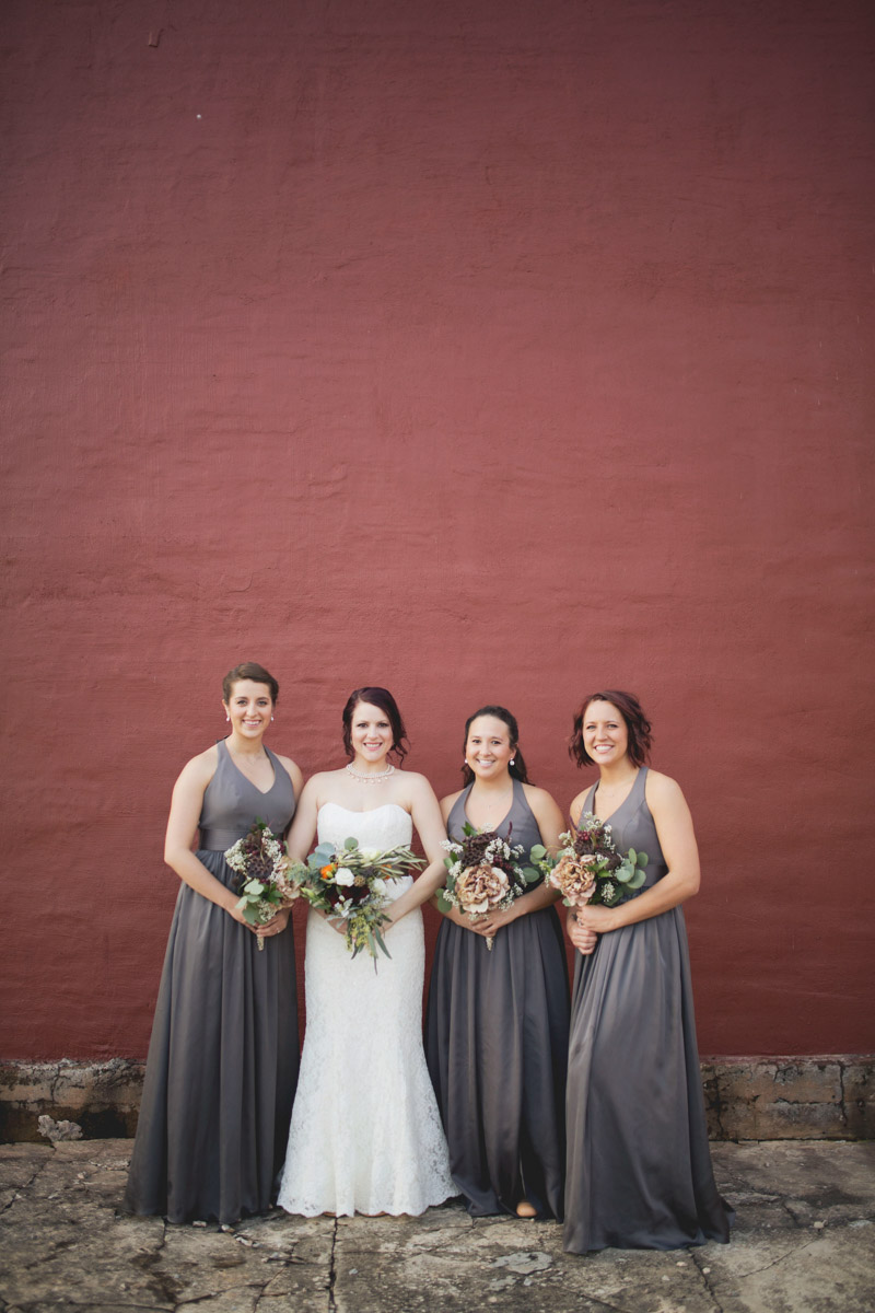 Bridesmaids in Long Gray Gowns