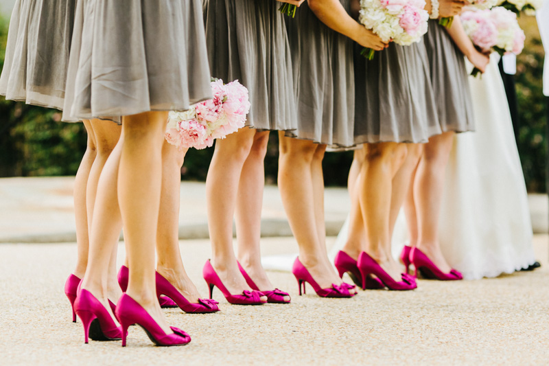 Bridesmaids matching got pink heels shot