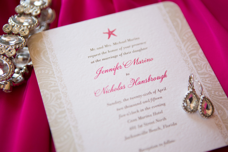 Bright Fuchsia Beachy Wedding Invitation and Jewelry