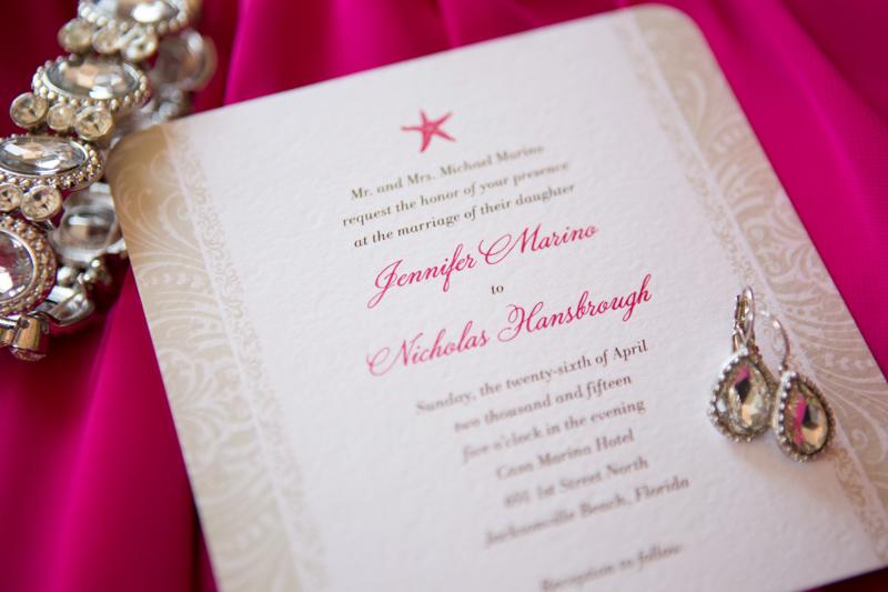 Bright Fuchsia Beachy Wedding Invitation and Jewelry