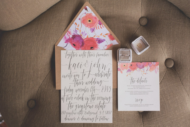 Calligraphed Watercolor Wedding Invitation Suite
