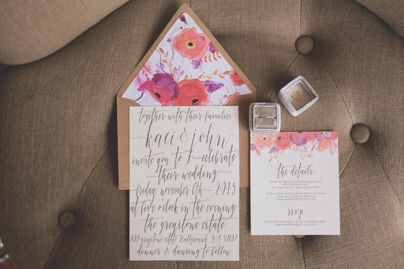 Calligraphed Watercolor Wedding Invitation Suite