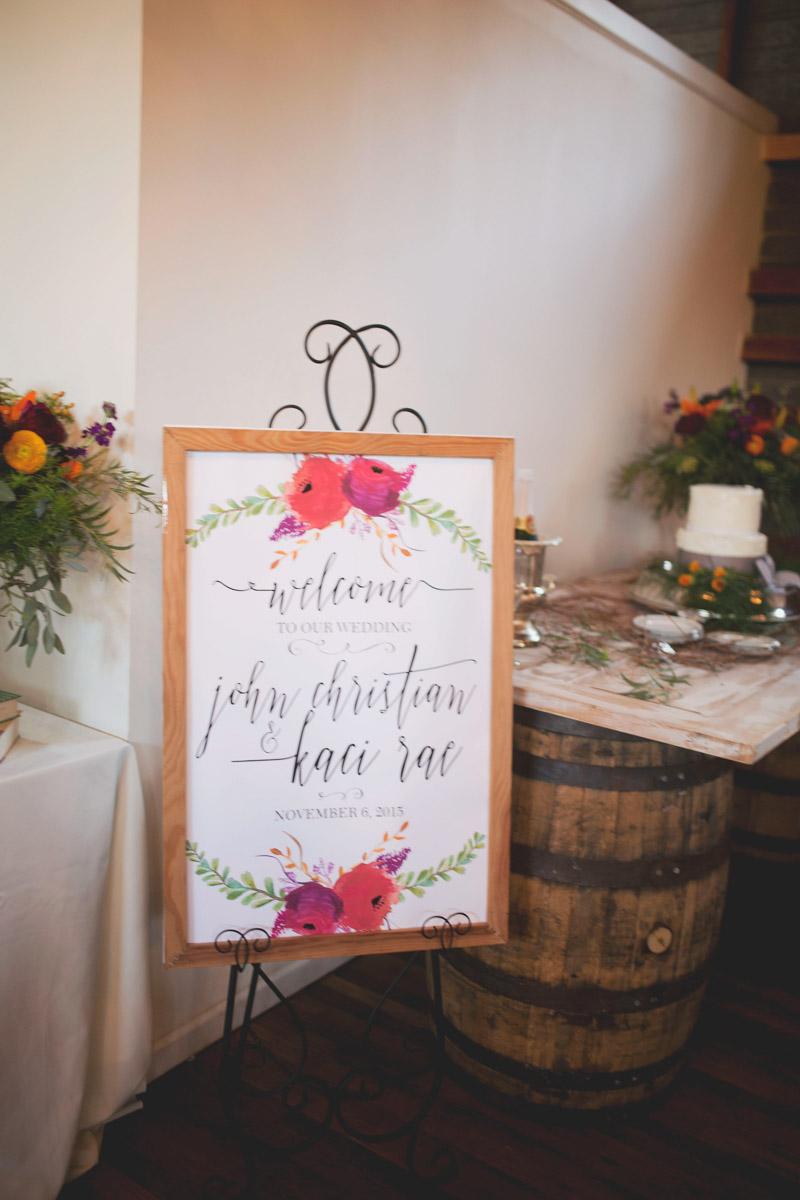 Calligraphed Wedding Welcome Signage