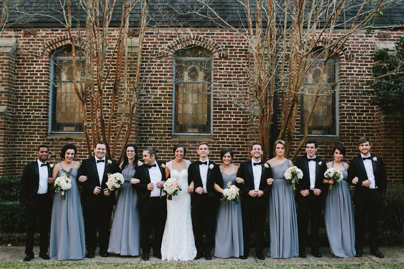 Charming December Alabama Wedding Bridal Party Charcoal Gray and Black