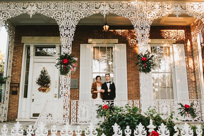 Charming December Wedding Bride and Groom Outside Historic House