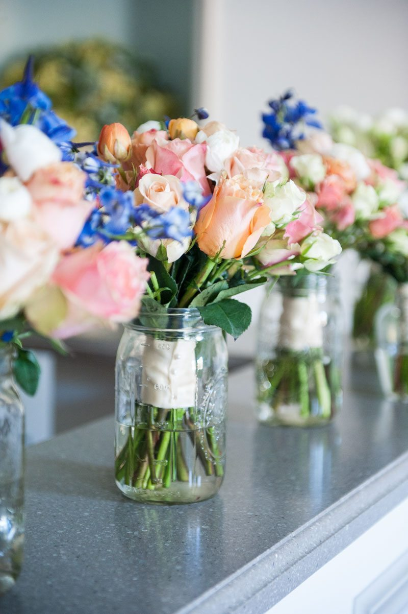 Colorful bouquet wedding day