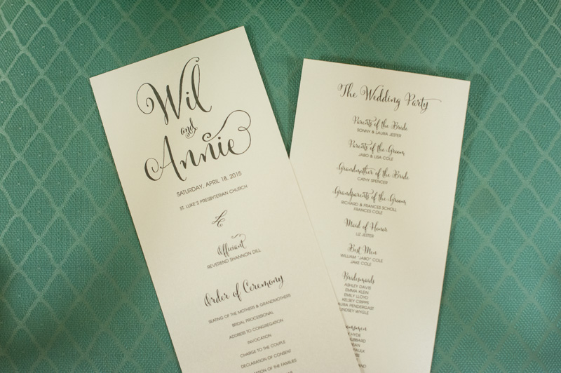 Cream wedding programs