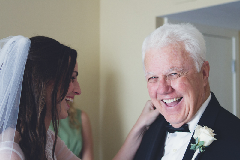 Elegant Romantic Wedding Bride and Father First Look