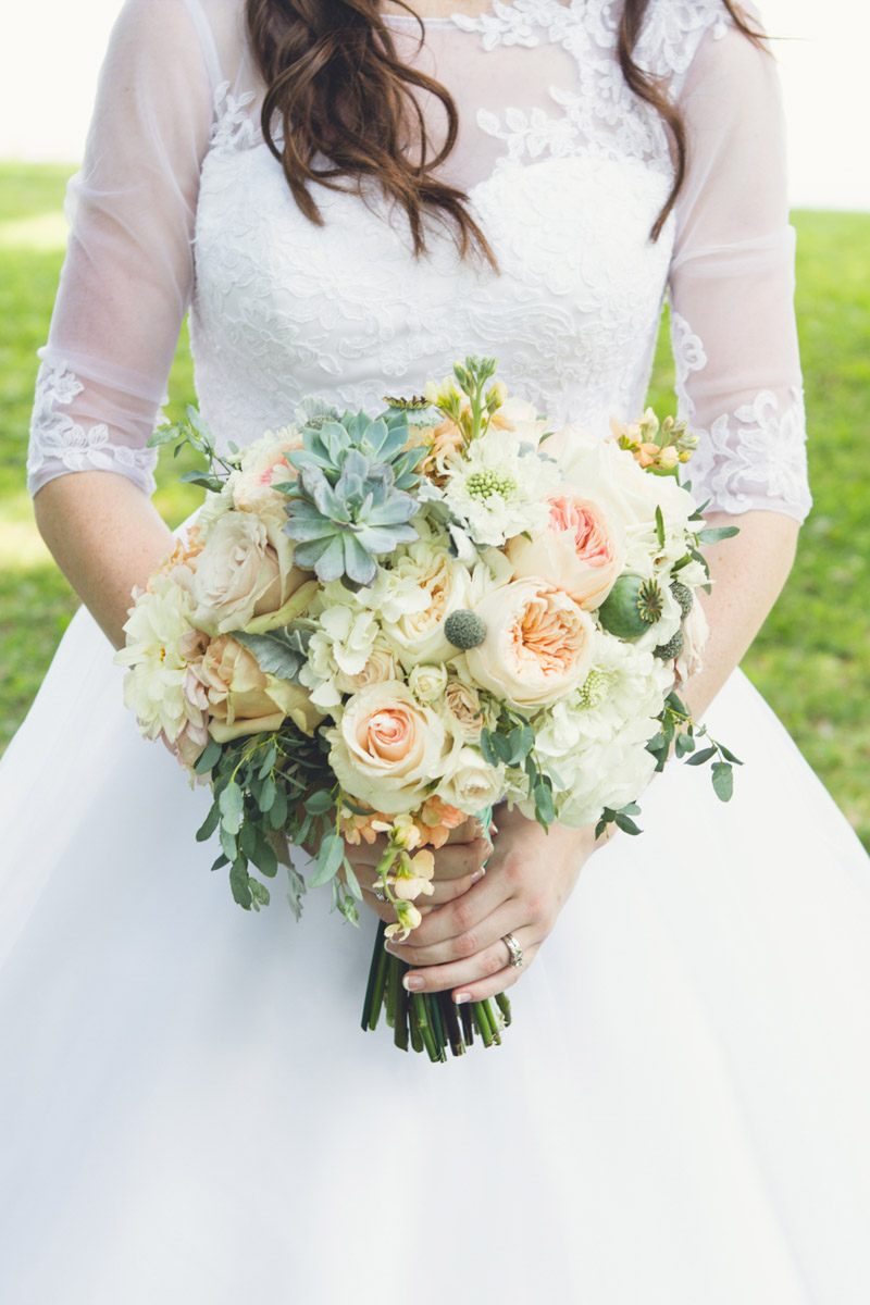 Elegant Southern Bride with Soft Pastel Bouquet of Roses, Succulent, & Hydrangea