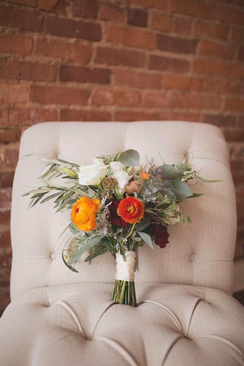 Fall Bridal Bouquet Ranunclus, Eucalyptus and Roses