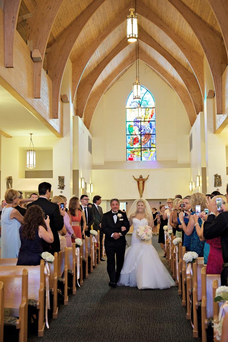 Father Walking Bride Down Isle in Church_