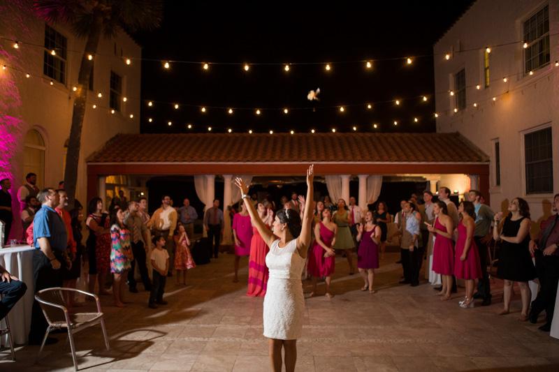 Glamorous Hotel Wedding Reception Bride Throws Bouquet