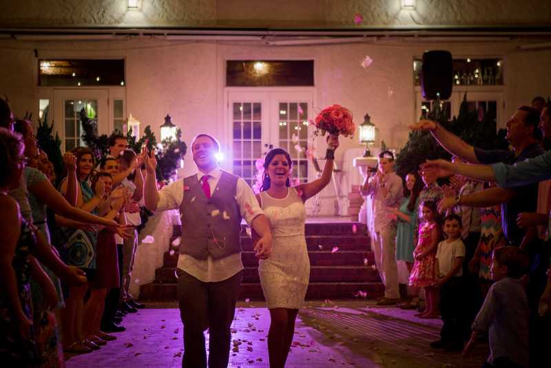 Glamorous Pink Wedding Reception Bride and Groom Exit