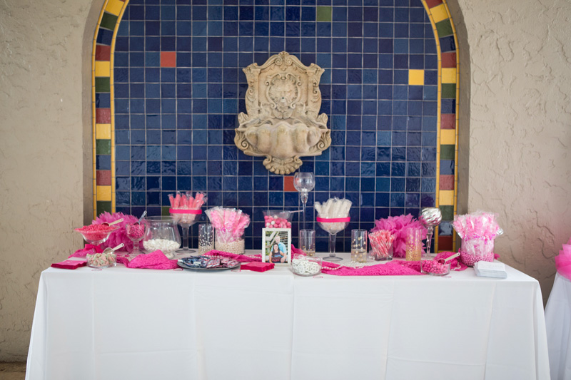 Glamorous Summer Wedding Reception Pink and White Candy Bar