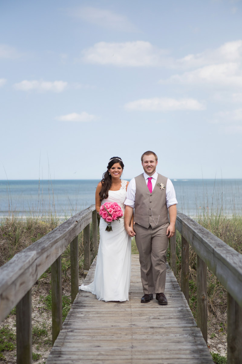 Glamorous Wedding Bride and Groom at Beach