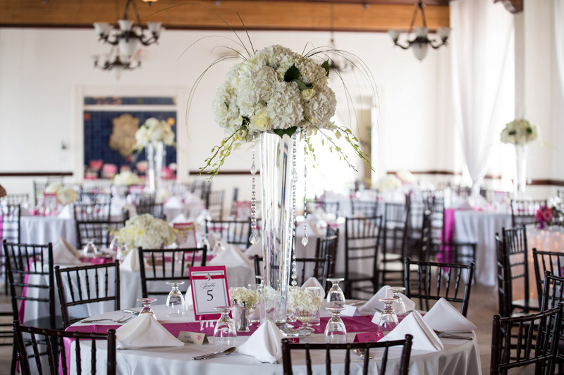 Glamorous Wedding Reception White Hydrangea Centerpieces