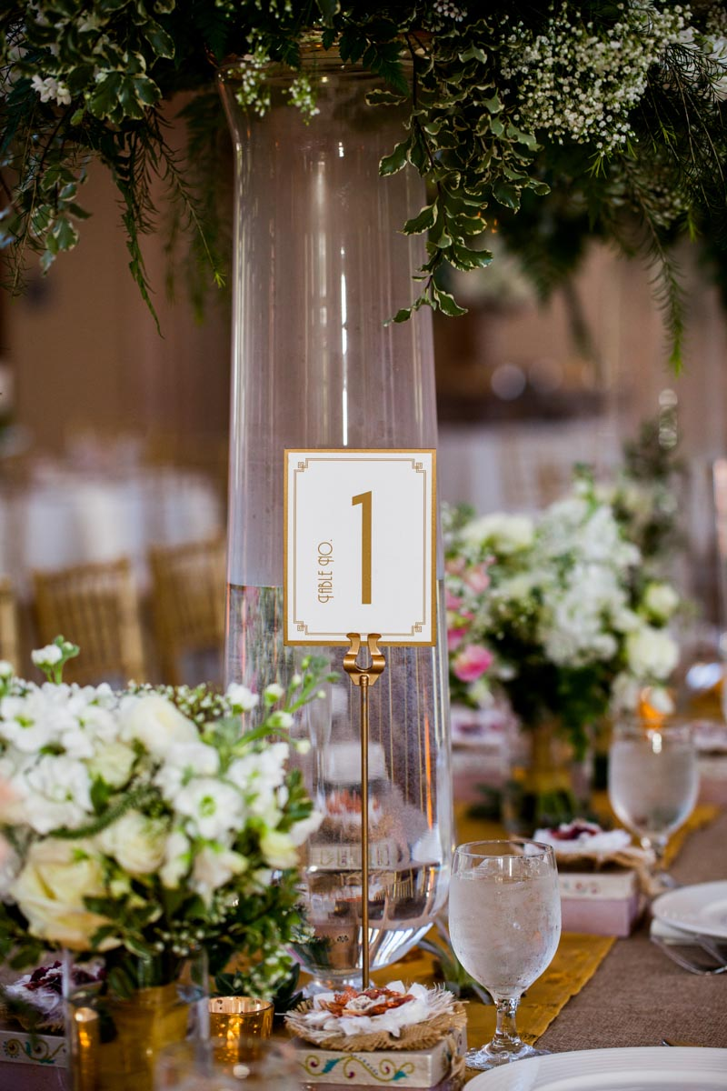 Gold table escort cards