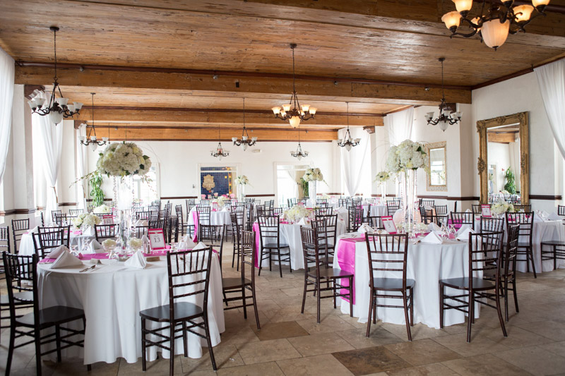 Hotel Wedding Reception White and Pink