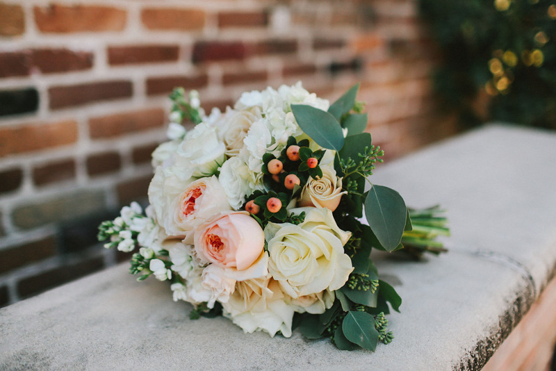 Peach and White Bridal Bouquet with Roses Hypericum Berries and Stock