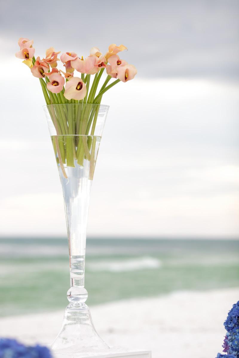 Peach calla lily beach wedding