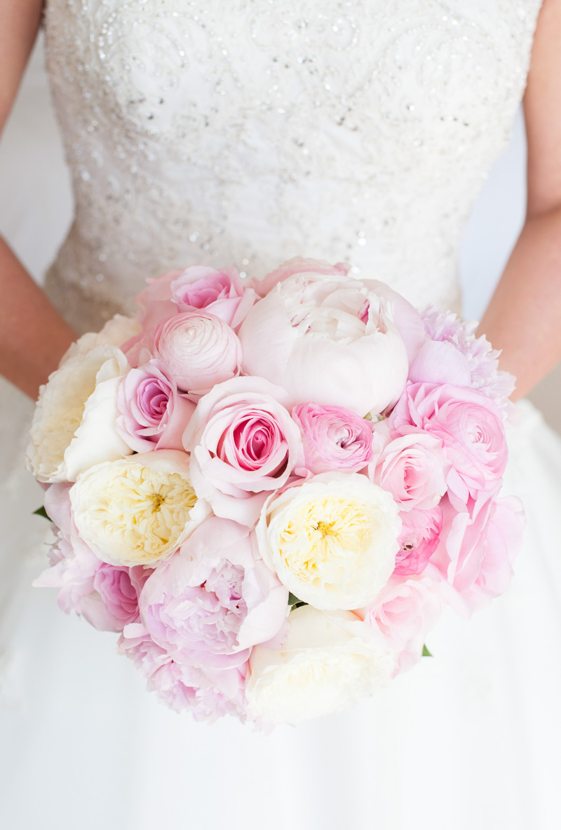 Pink Yellow White Bride Bouquet