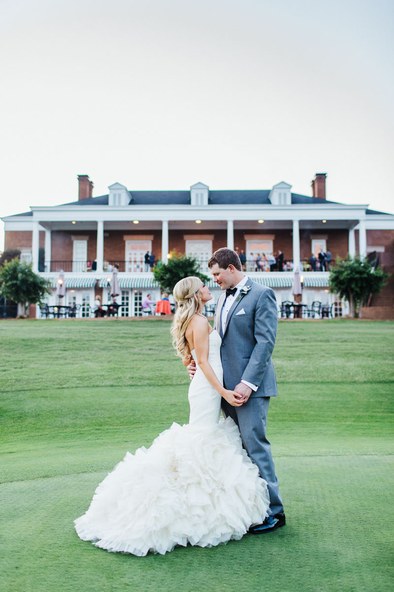 Portrait of Bride & Groom on Golf Course