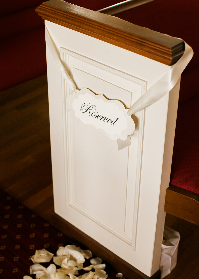 Reserved Sign on Pew
