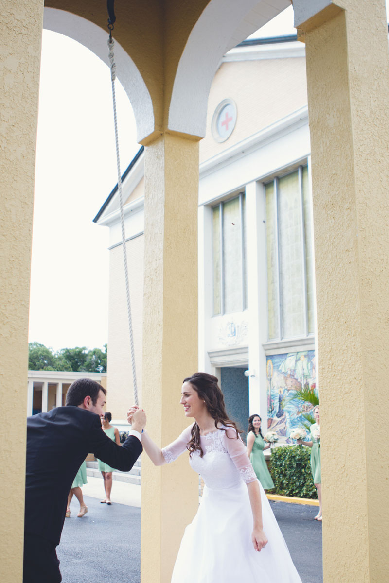 Southern Church Wedding Ceremony Bride & Groom Ring Bell