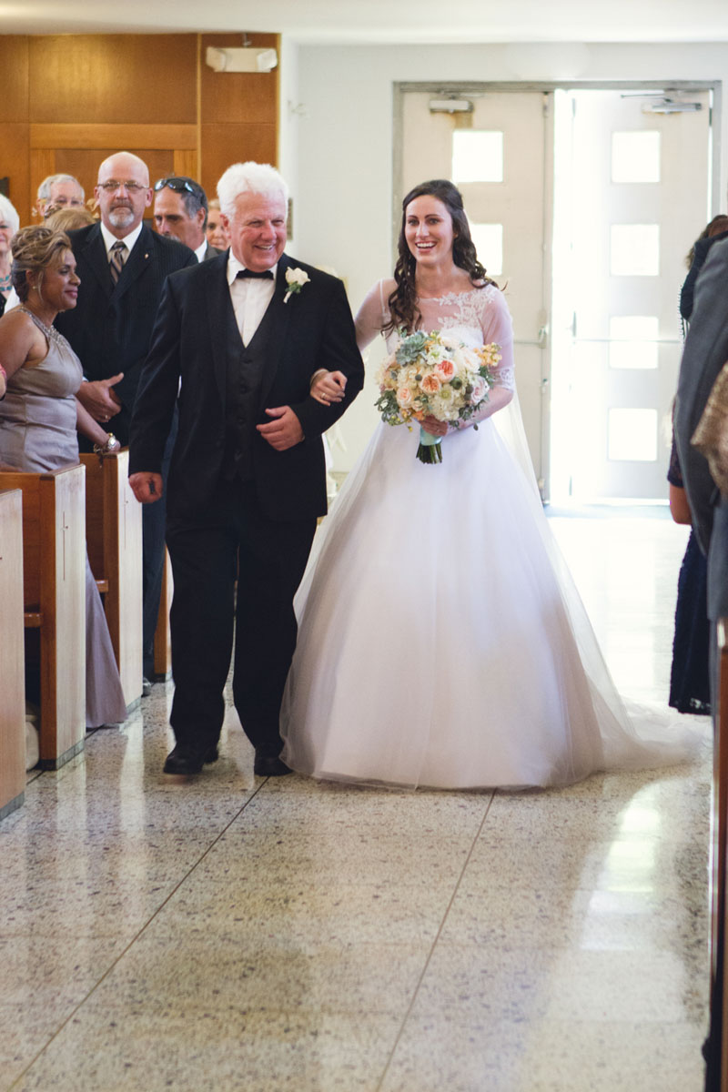 Southern Elegant Wedding Ceremony Bride & Father Walk Down the Aisle