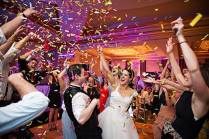 Wedding Party at Recpetion with Confetti
