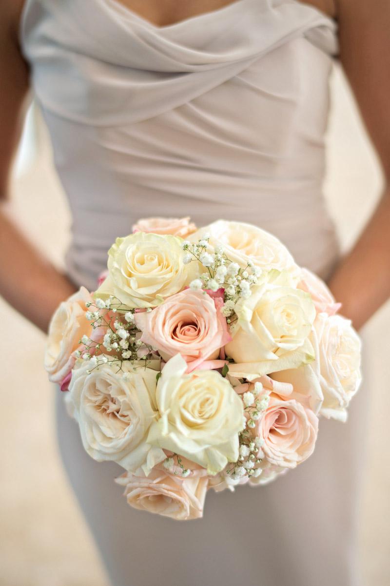 White & Blush Rose Bouqet