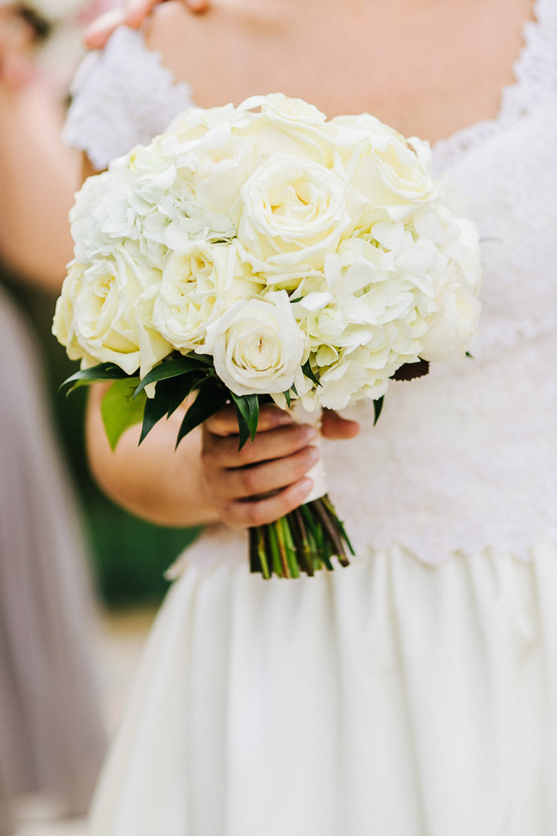 White hydrange and rose bouquet