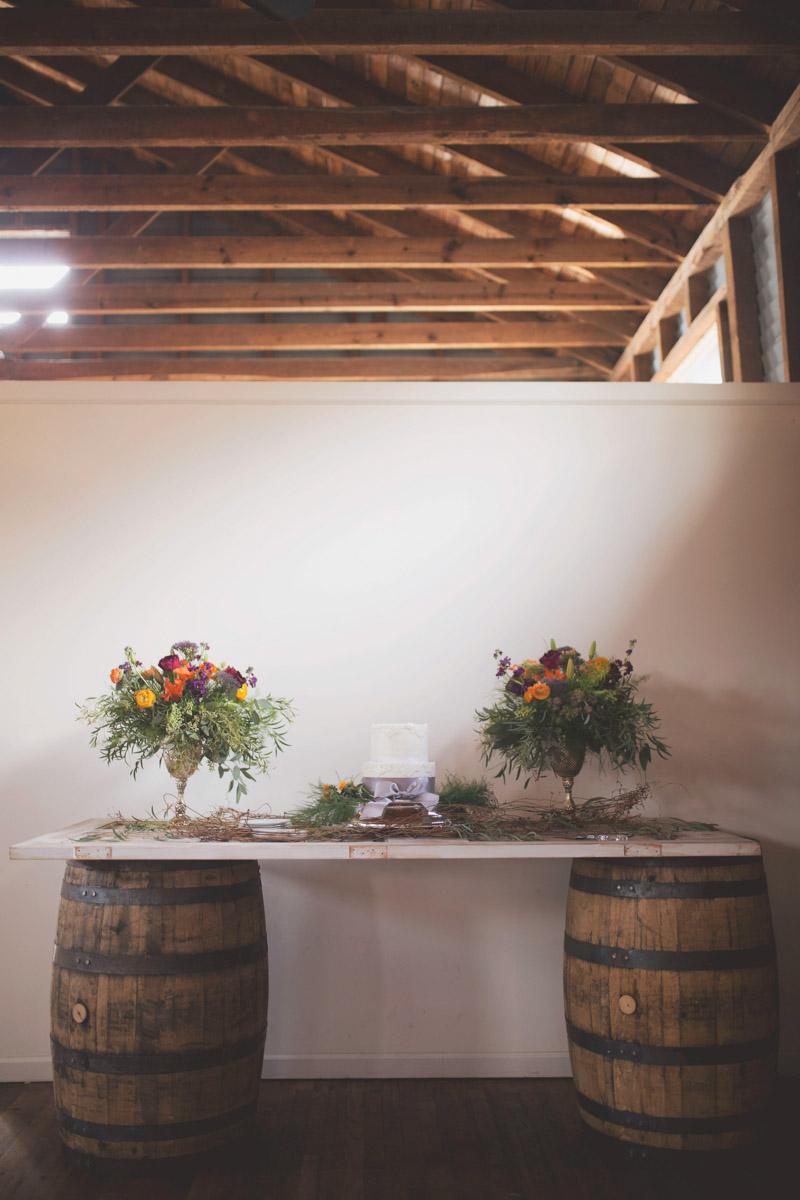 Wine Barrel Cake Table Display
