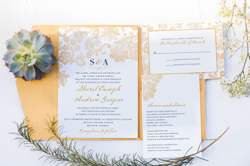 Yellow and white wedding inviations