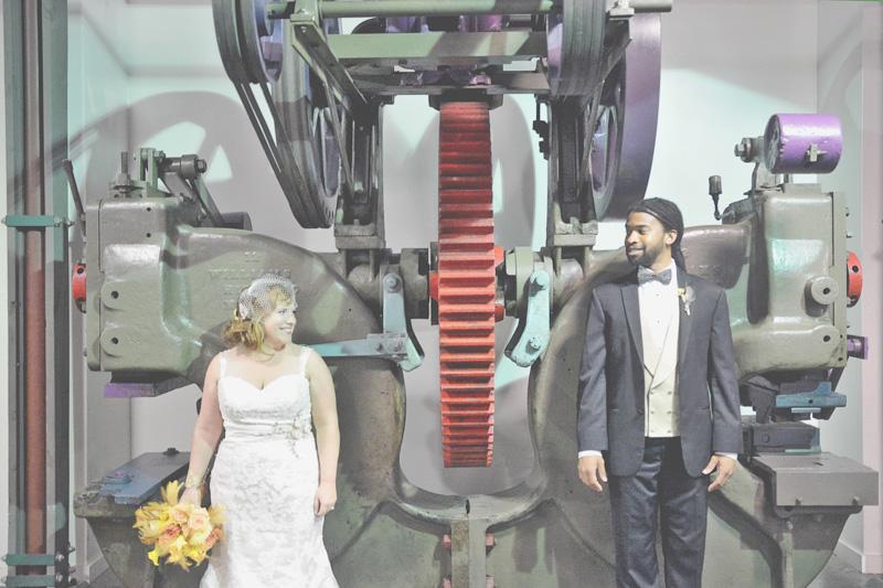 Bride and groom industrial shot