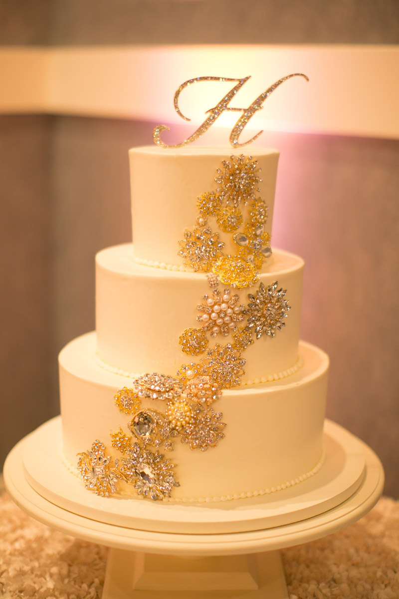 Crystal Covered Ivory and Gold Wedding Cake with Monogram Topper