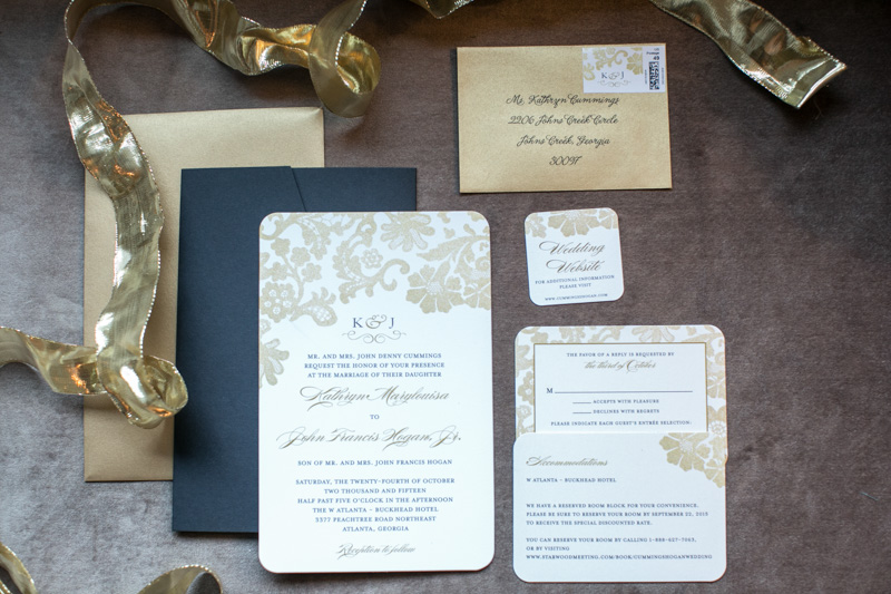 Gold and Black Wedding Invitation Suite