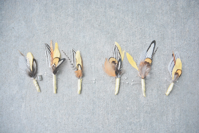 Groom and groomsmen feather boutonniere