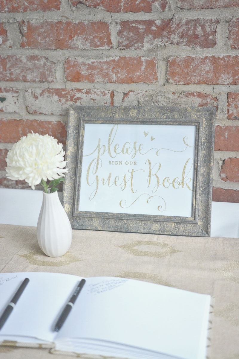 Personalized gold glitter guest book sign