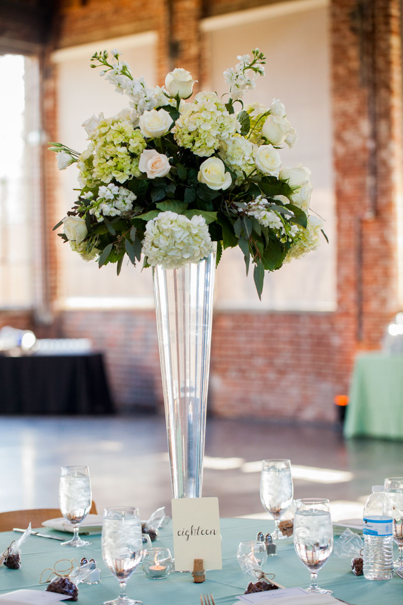 Roses with Hydrangea Centerpieces