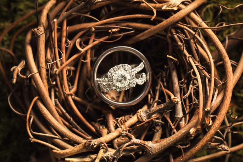 Wedding rings resting in a nest