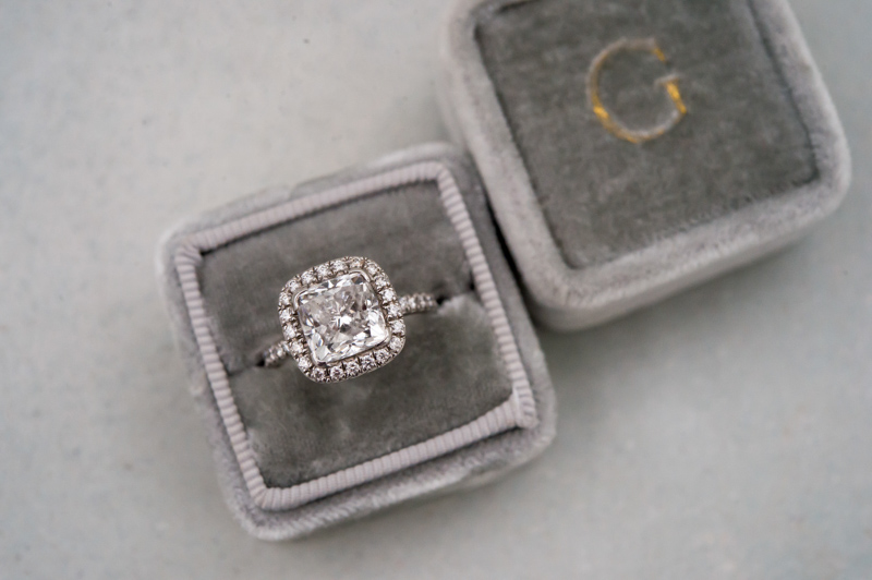 Cushion Cut Halo Engagement Ring in Gray Velvet Mrs Box
