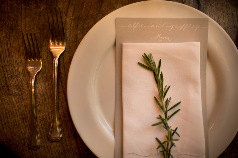 Simple Menu and Herb Place Setting