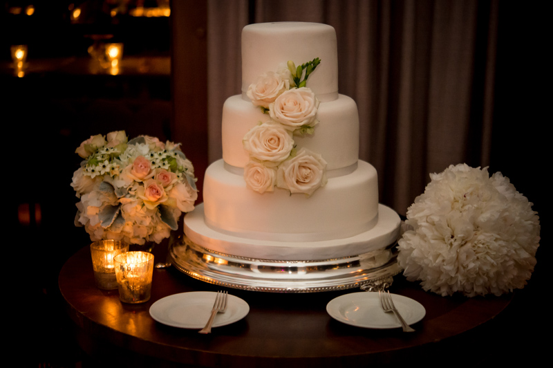 Three Layer White Wedding Cake with Floral Accents