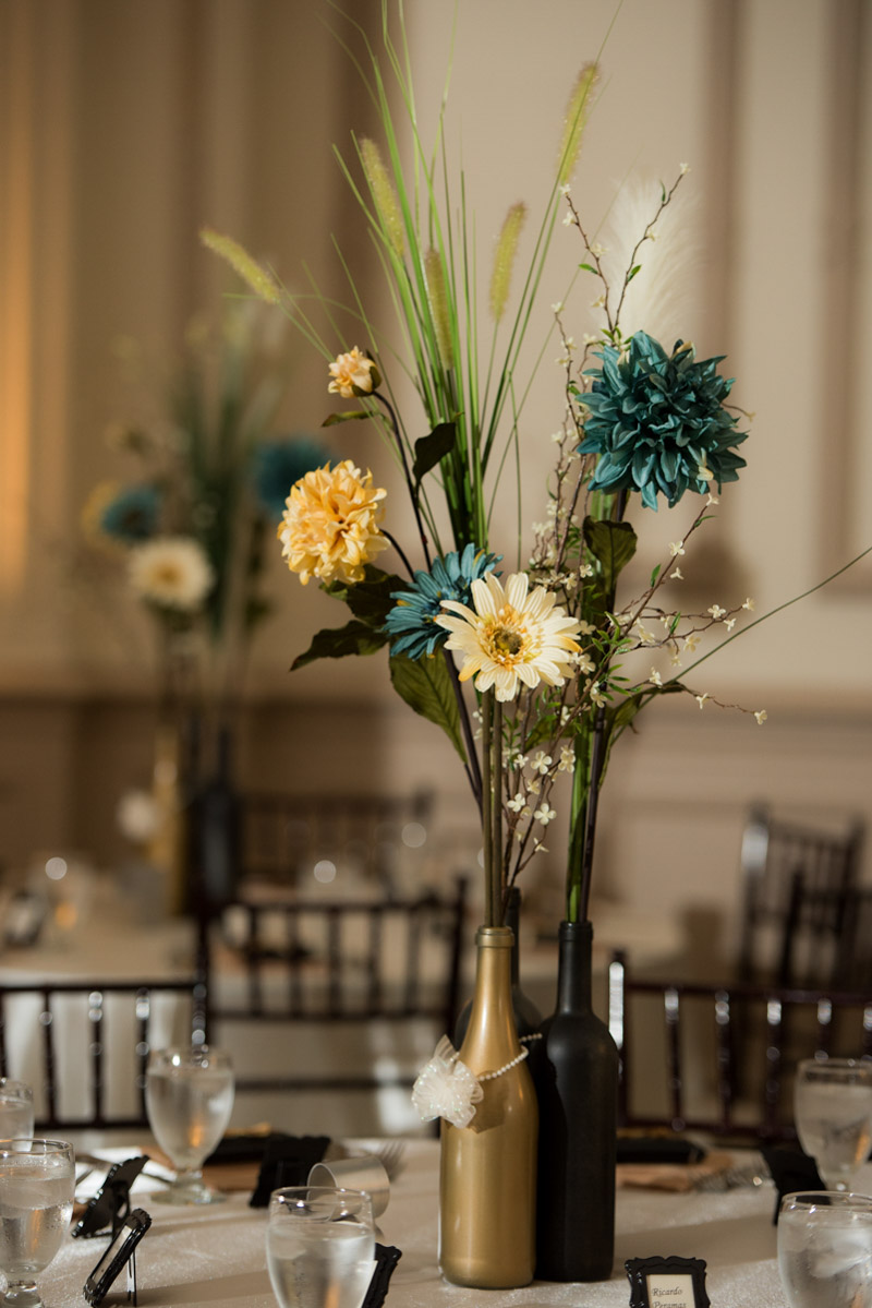 blue ivory dahlia daisy wine bottle centerpiece