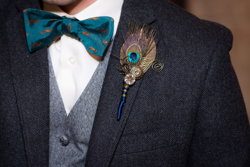 bowtie and peacock boutineer