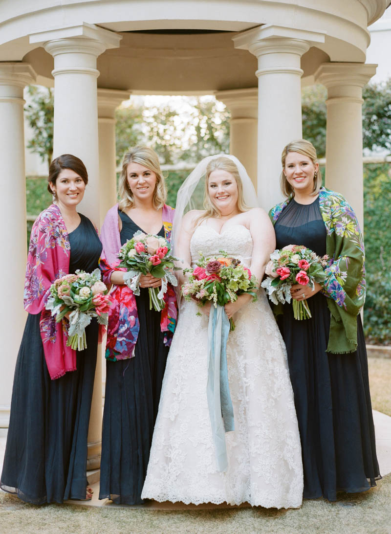 bridesmaids in colorful shawls photo by olivia griffin photo